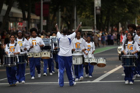 drum line marching in a parade